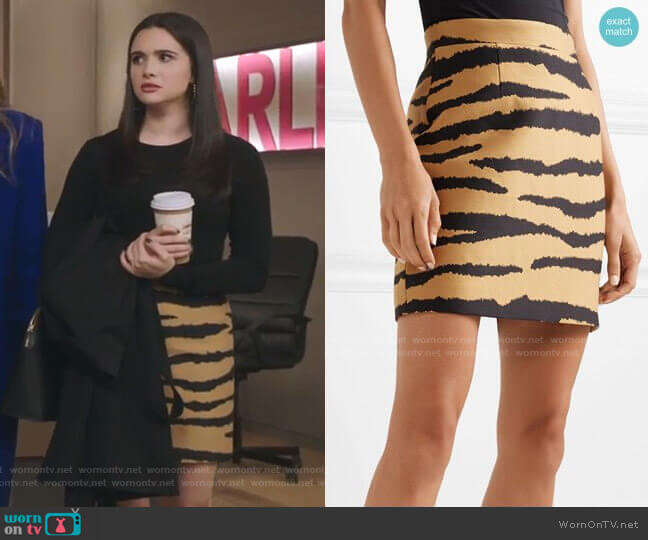 Tiger-print  jacquard mini skirt by Proenza Schouler worn by Jane Sloan (Katie Stevens) on The Bold Type