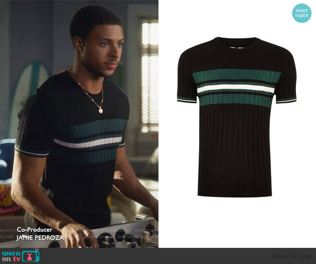 Black And Teal Stripe Ribbed Sweater by Topman worn by Diggy on Grown-ish