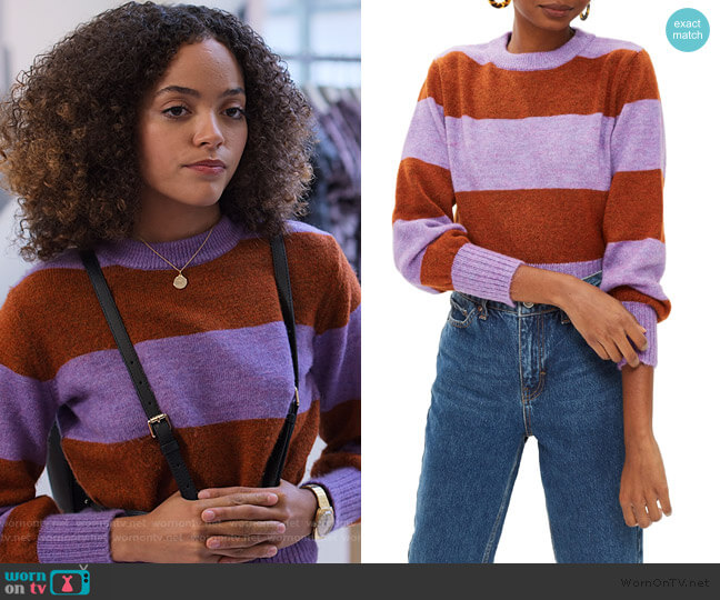 Bold Stripe Crewneck Sweater by Topshop worn by Tabitha Foster (Quintessa Swindell) on Trinkets