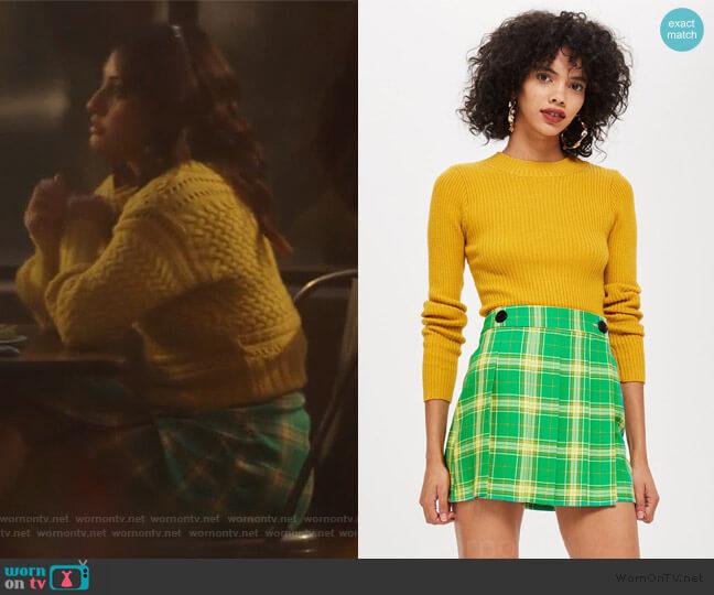 Check Kilt Mini Skirt by Topshop worn by Ana Torres (Francia Raisa) on Grown-ish