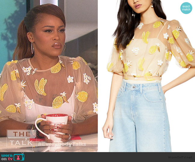 Fruit Floral Mesh Top by Topshop worn by Eve  on The Talk