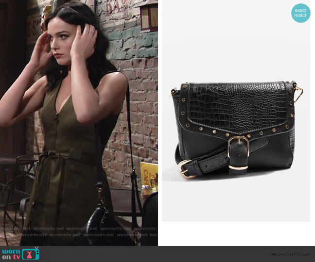 Romeo Crocodile Effect Cross Body Bag by Topshop worn by Tessa Porter (Cait Fairbanks) on The Young & the Restless