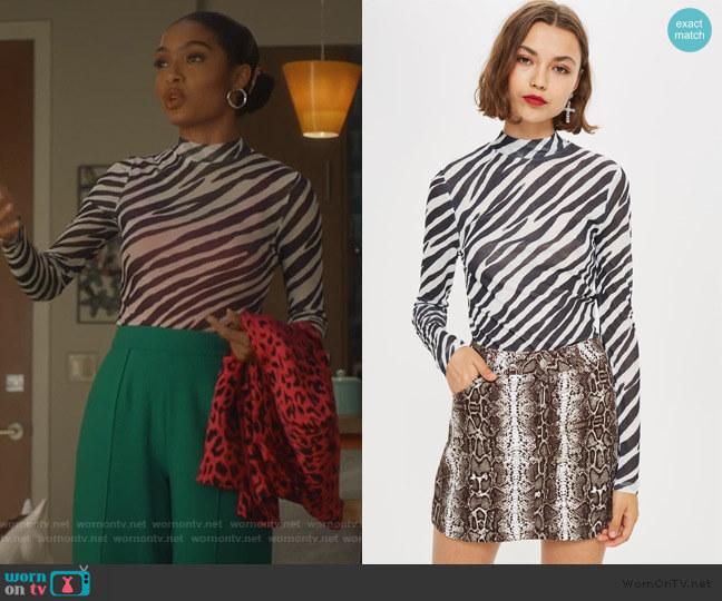 Zebra Print Long Sleeve Top by Topshop worn by Zoey Johnson (Yara Shahidi) on Grown-ish