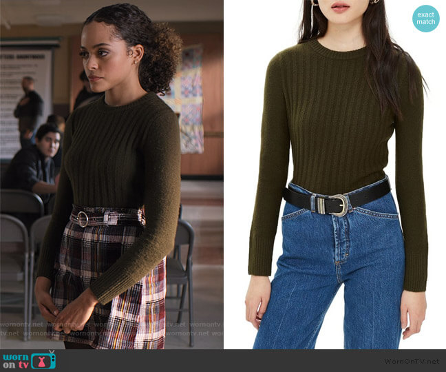 Rib Sweater in Olive by Topshop worn by Tabitha Foster (Quintessa Swindell) on Trinkets