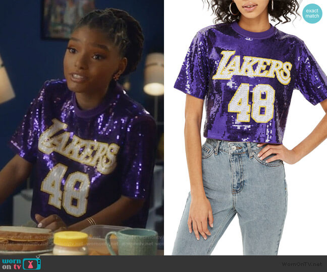 x UNK Lakers Sequin Crop Top by Topshop worn by Skylar Forster (Halle Bailey) on Grown-ish