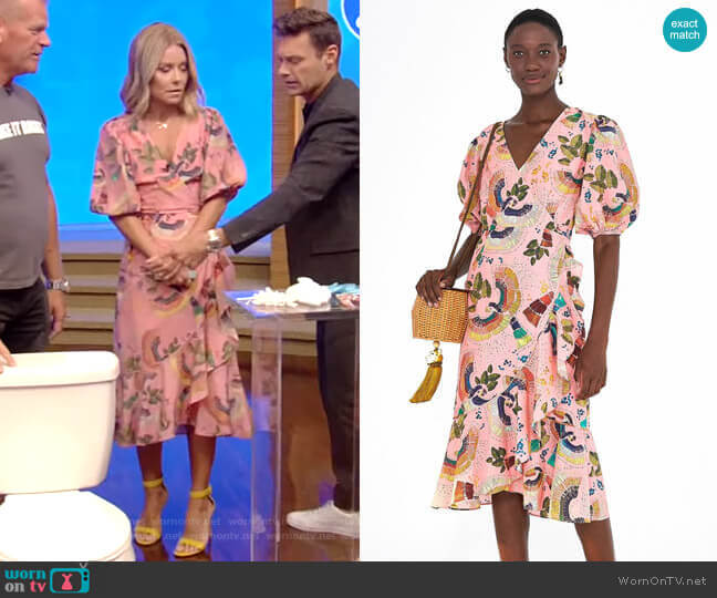 Tropical Birds Ruffle Wrap Dress by FARM Rio worn by Kelly Ripa  on Live with Kelly & Ryan