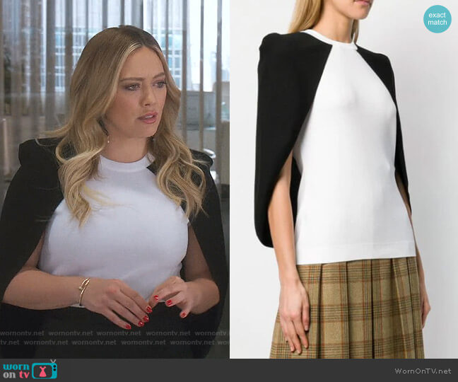 Two Tone Cape Blouse by Givenchy worn by Kelsey Peters (Hilary Duff) on Younger