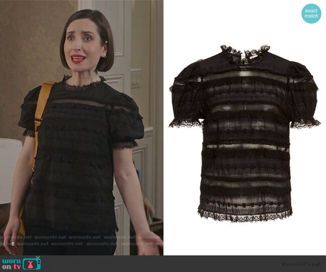 Desi Short Sleeve Blouse by Ulla Johnson worn by Jennifer Short (Zoe Lister-Jones) on Life in Pieces