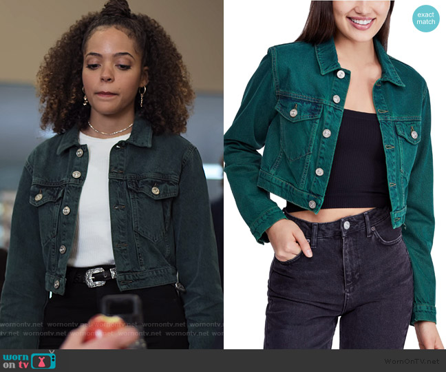 Overdyed Crop Denim Jacket by Urban Outfitters worn by Tabitha Foster (Quintessa Swindell) on Trinkets