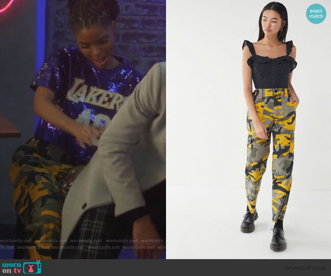 Vintage Colorful Camo Cargo Pants by Urban Outfitters worn by Skylar Forster (Halle Bailey) on Grown-ish