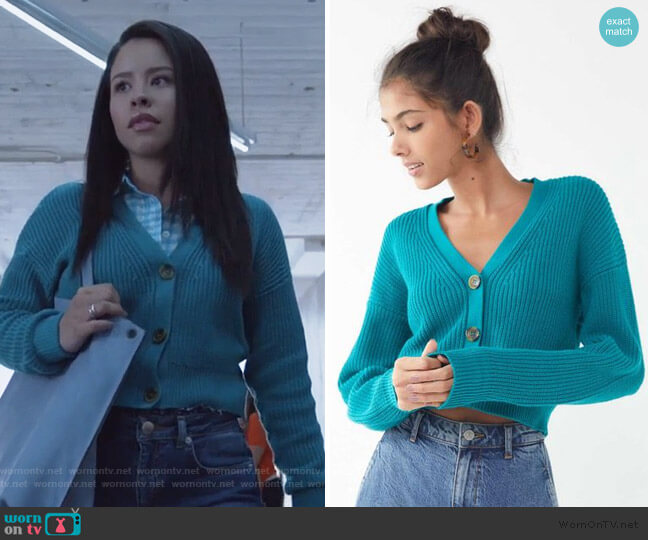 Kai Cropped Cardigan by Urban Outfitters worn by Mariana Foster (Cierra Ramirez) on Good Trouble