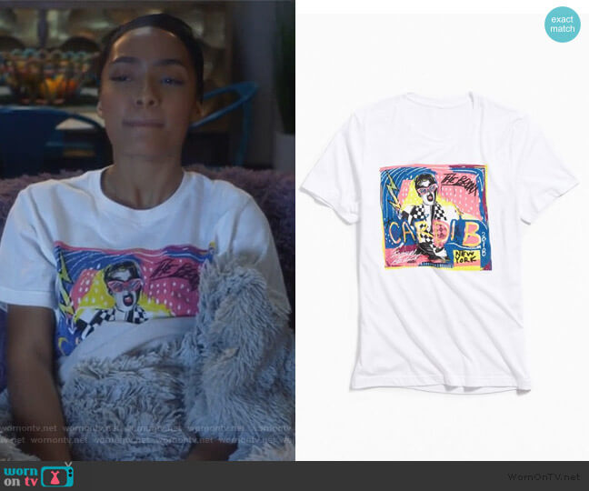 Cardi B Invasion Collage Tee by Urban Outfitters worn by Zoey Johnson (Yara Shahidi) on Grown-ish