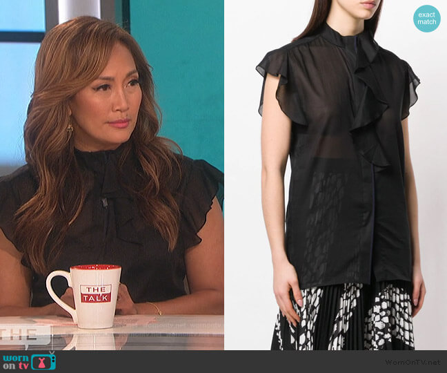 Flute Ruffle Black Blouse by Victoria Victoria Beckham worn by Carrie Inaba  on The Talk