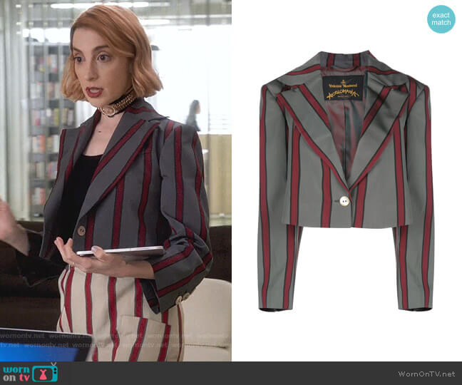 Cropped Pyjama Jacket by Vivienne Westwood Anglomania worn by Lauren (Molly Bernard) on Younger