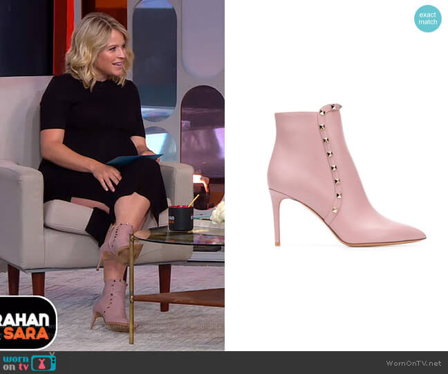 Rockstud Ankle Boots by Valentino worn by Sara Haines  on Good Morning America