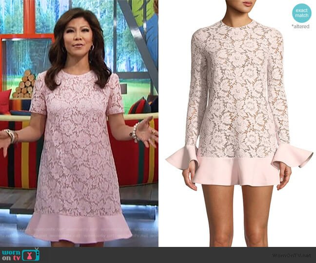 Jewel-Neck Crepe Couture Dress by Valentino worn by Julie Chen  on Big Brother