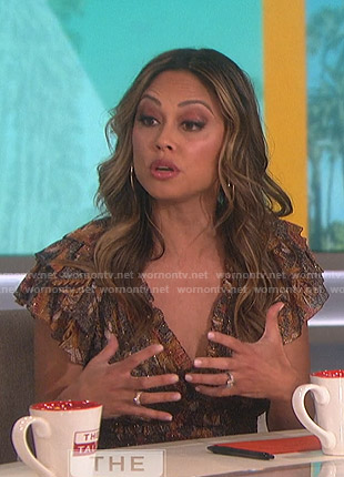 Vanessa Lachey's printed ruffled midi dress on The Talk