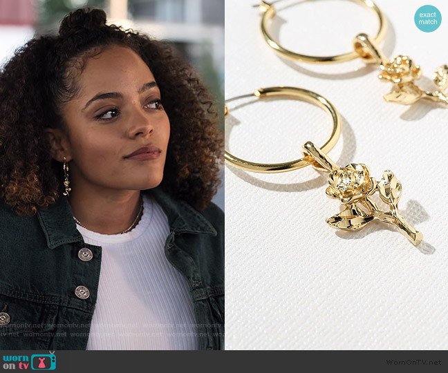 Gold Little Rose Hoops by Vanessa Moondy worn by Tabitha Foster (Quintessa Swindell) on Trinkets