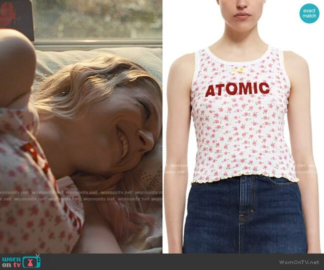 Vanna Youngstein Atomic Tank in Red Floral worn by Jules Vaughn (Hunter Schafer) on Euphoria