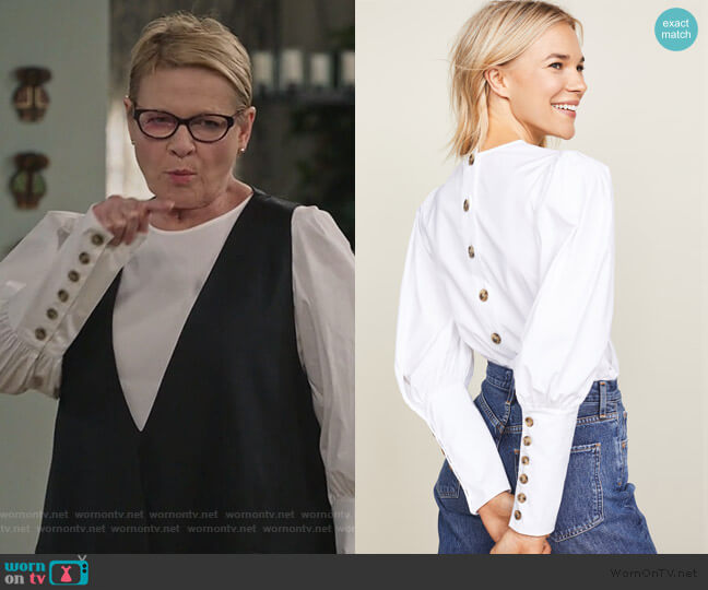 Clarke Button-Back Poplin Top by Veronica Beard worn by Joan Short (Dianne Wiest) on Life in Pieces