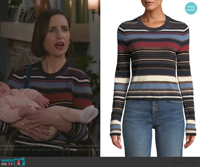 Palmas Striped Metallic Cropped Sweater by Veronica Beard worn by Jennifer Short (Zoe Lister-Jones) on Life in Pieces
