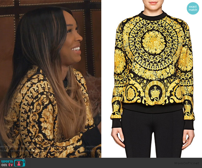 Baroque-Print Sweatshirt by Versace worn by Malika on Keeping Up with the Kardashians