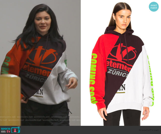 Patchwork Hooded Cotton Sweatshirt by Vetements worn by Kylie Jenner  on Keeping Up with the Kardashians