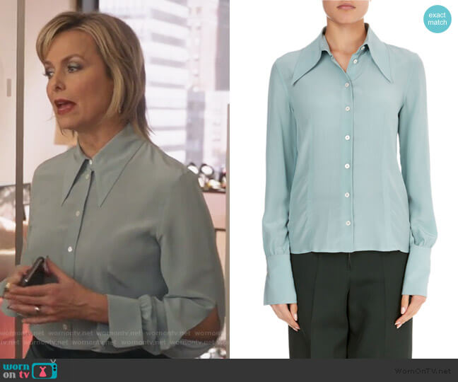 Long-Sleeve Silk Pointed-Collar Top by Victoria Beckham worn by Jacqueline (Melora Hardin) on The Bold Type