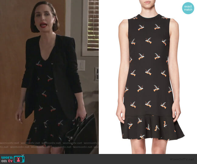 Bird-Print Flounce-Hem Minidress by Victoria Victoria Beckham worn by Jennifer Short (Zoe Lister-Jones) on Life in Pieces