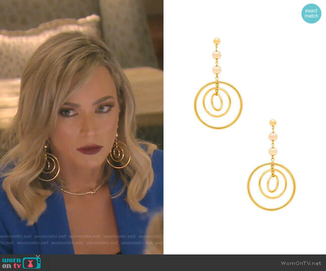 Zelda Earrings 2.0 by Vanessa Mooney worn by Teddi Mellencamp Arroyave  on The Real Housewives of Beverly Hills