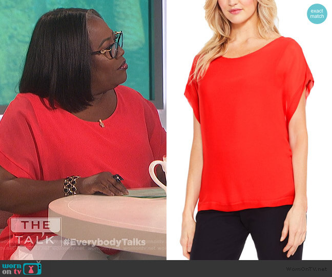 Red Chiffon Sheer Top by Vince Camuto worn by Sheryl Underwood  on The Talk