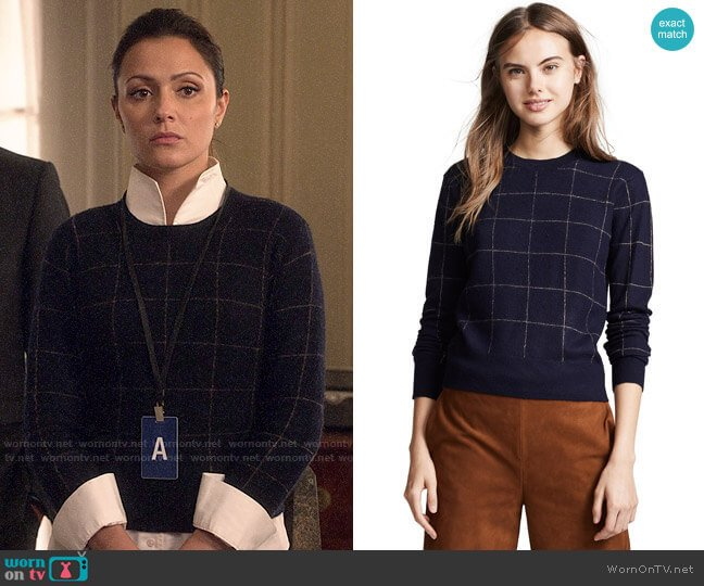 Vince Windowpane Check Cashmere Sweater worn by Emily Rhodes (Italia Ricci) on Designated Survivor