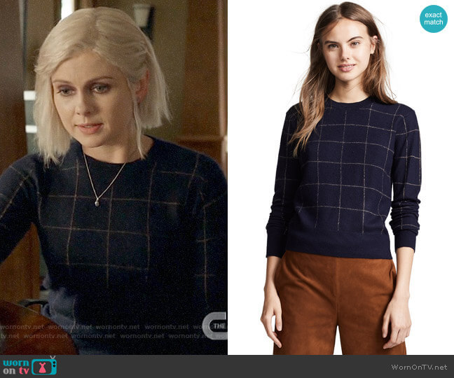 Vince Windowpane Check Cashmere Sweater  worn by Liv Moore (Rose McIver) on iZombie