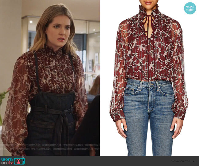 Victoria Silk-Blend Blouse by Warm worn by Sutton (Meghann Fahy) on The Bold Type