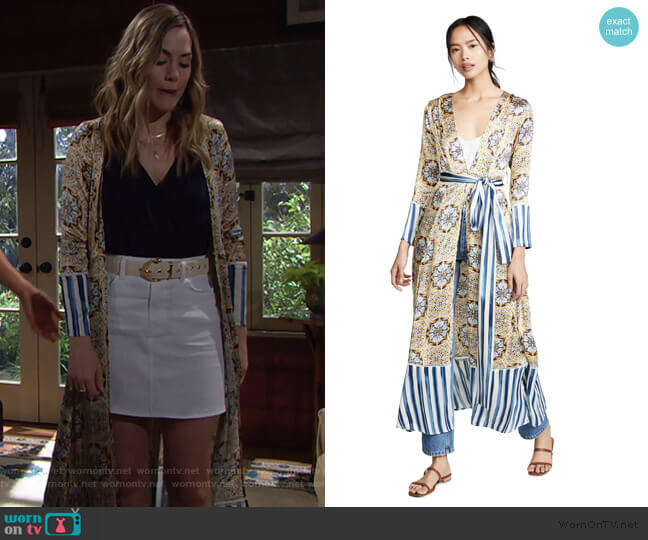 Silk Charmeuse Maxi Robe by We Are Leone worn by Hope Logan (Annika Noelle) on The Bold & the Beautiful