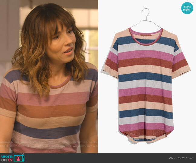 Whisper Cotton Crewneck Tee in Longrock Stripe by Madewell worn by Judy Hale (Linda Cardellini) on Dead to Me