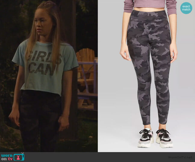 Target Wild Fable Camo Print High-Waist Leggings worn by Ava (Shelby Simmons) on Bunkd