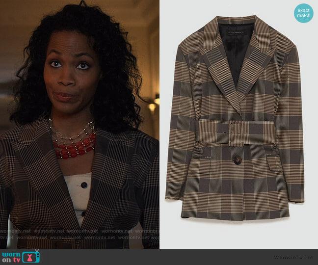 Checked Blazer by Zara worn by Jessica Frances Dukes on Jessica Jones