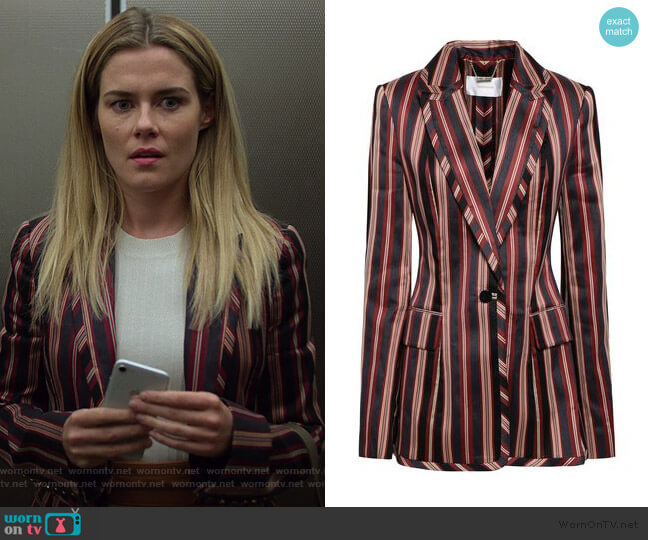 Striped Blazer by Zimmermann worn by Trish Walker (Rachael Taylor) on Jessica Jones