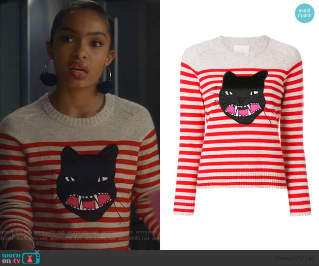 Lilo Striped Cat Jumper by Zadig & Voltaire worn by Zoey Johnson (Yara Shahidi) on Grown-ish