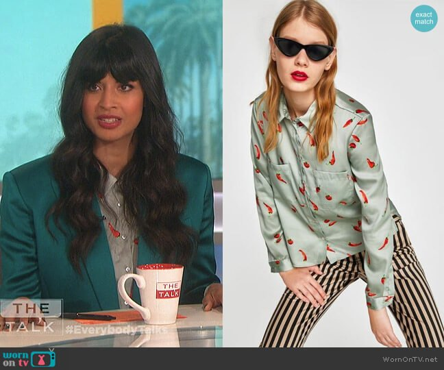 Zara Blouse with Chilli Pepper Print worn by Jameela Jamil on The Talk