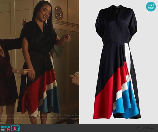 Patchwork Aki Wave Short Sleeve Midi Dress by Zero + Maria Cornejo worn by Kat Edison (Aisha Dee) on The Bold Type