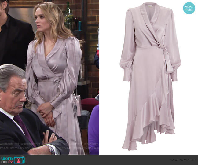 Lavender Silk Wrap Dress by Zimmermann worn by Summer Newman (Hunter King) on The Young & the Restless