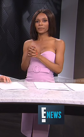 Zuri's pink strapless belted dress on E! News