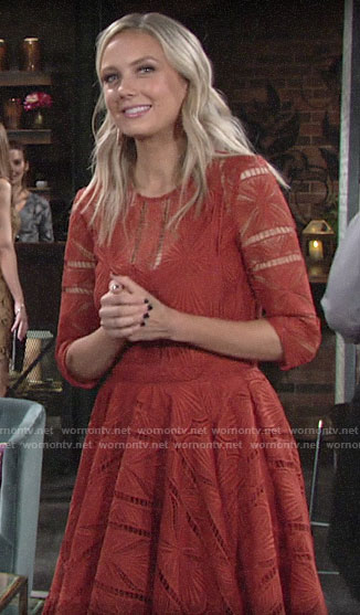 Abby's orange lace dress on The Young and the Restless
