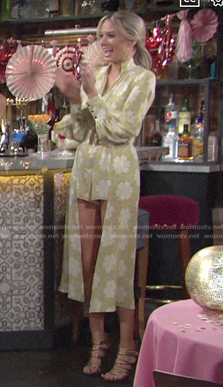Abby's yellow floral romper at Lola's bridal shower on The Young and the Restless