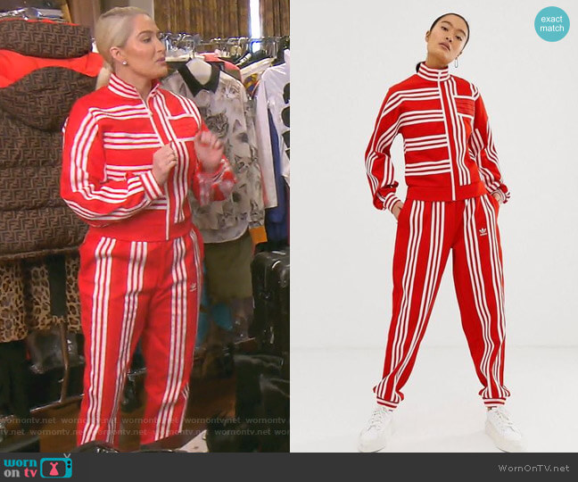 Mixed Stripe Track Jacket and pants by Adidas Originals x Ji Won Choi worn by Erika Girardi  on The Real Housewives of Beverly Hills