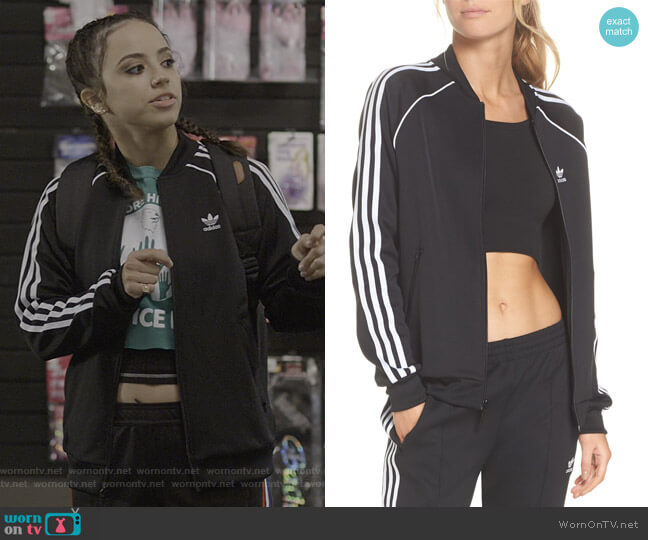 SST Track Jacket by Adidas Originals worn by Moe Truax (Kiana Madeira) on Trinkets