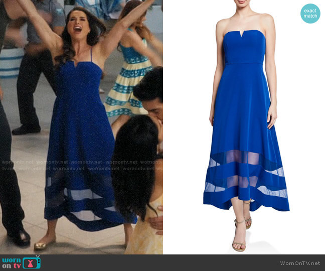 Aidan Mattox Strapless High-Low Crepe Dress with Sheer Insets worn by Luisa Alver (Yara Martinez) on Jane the Virgin
