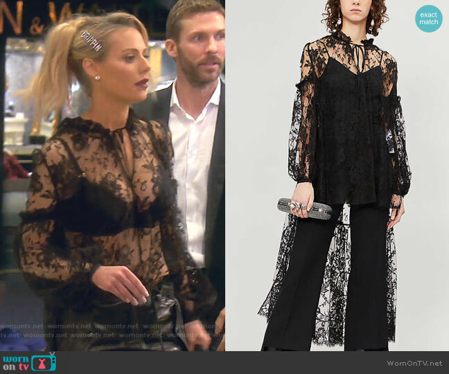 Neck-Tie Asymmetric-Hem Lace Shirt by Alexander McQueen worn by Dorit Kemsley  on The Real Housewives of Beverly Hills